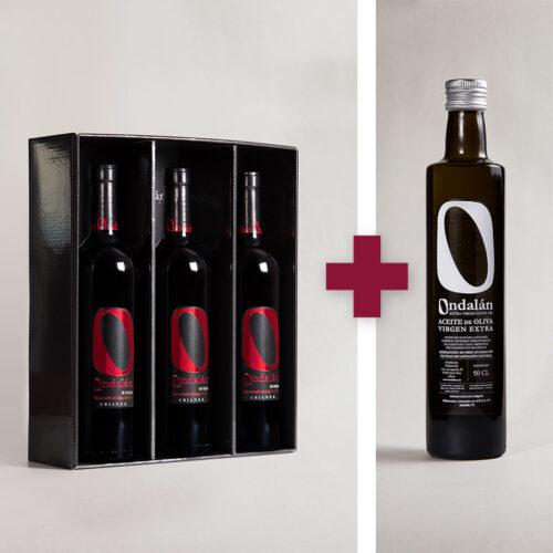 Bodegas Ondalán - Lote 3 vinos Ondalán Crianza + 1 Aceite de Oliva Virgen extra Ondalán