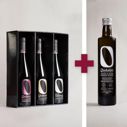 Bodegas Ondalán - Lote 3 vinos Gama Alta Ondalán + 1 Aceite de Oliva Virgen extra Ondalán