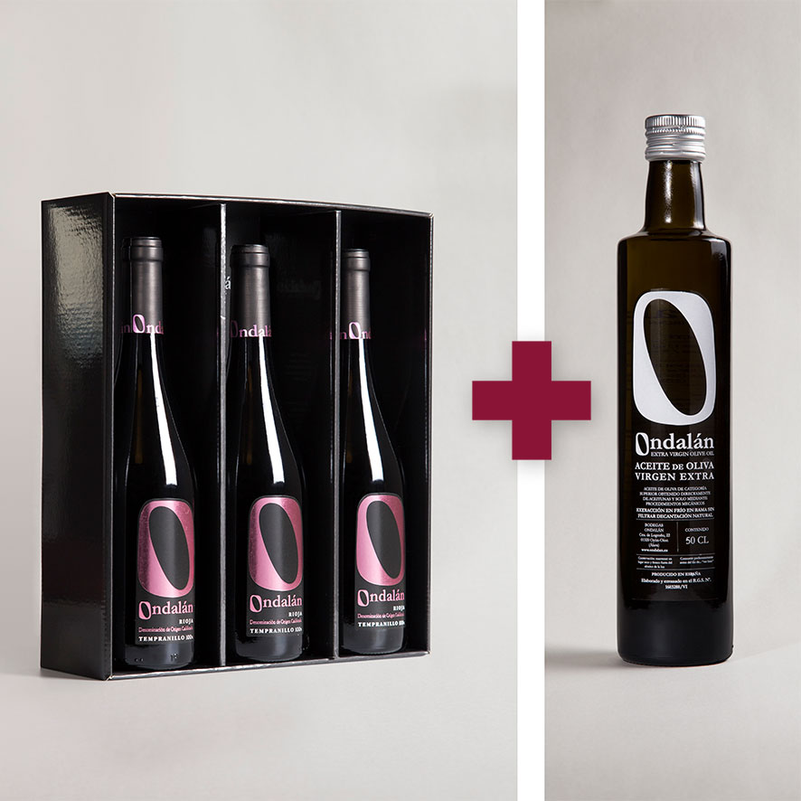 Bodegas Ondalán - Lote 3 vinos Ondalán Selección Tempranillo + 1 Aceite de Oliva Virgen extra Ondalán